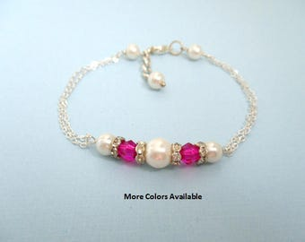 Swarovski Crystal & Pearl Bracelet-Bridesmaid jewelry-Maid of Honor Jewelry-Mother of the Bride/Groom gifts-Bridal Party gifts-Wedding, B708