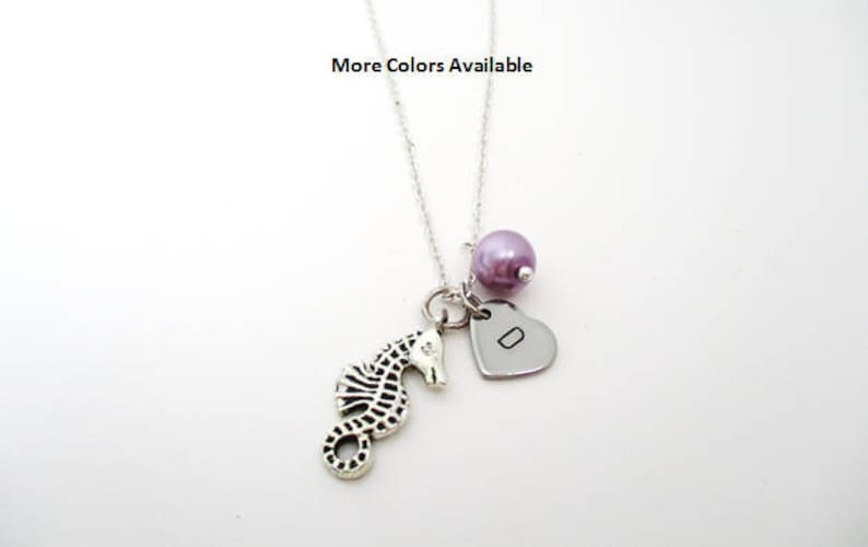 Monogram Jewelry Personalized Initial Sea Horse Charm Pearl Necklace Monogram Necklace Custom Initial Necklace Sea Horse Jewelry