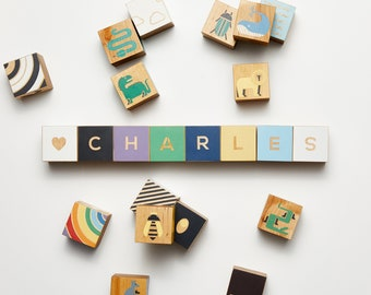 Personalized Wood Name Blocks, Baby Shower, Alphabet Baby Custom Letters, Nursery Decor
