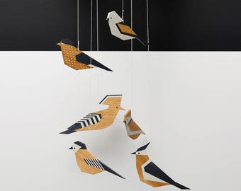 Baby mobile, black&white mobile, wooden decoration, baby decor, wooden birds, nursery decor, hanging decor, baby room, wall decor