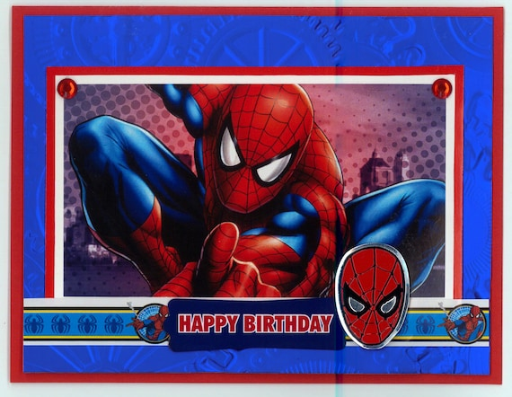 Spiderman Birthday Card Etsy