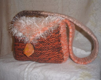 Orange felted purse