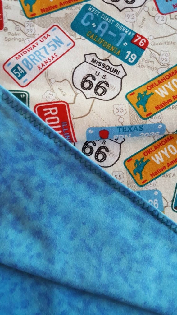 Large Route 66 Flannel blanket. Reversible and fun Tan  80924dd56
