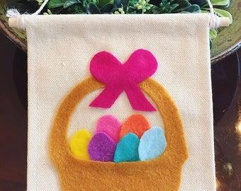 Easter Basket/Spring Mini Canvas Banner Doorknob Hanging