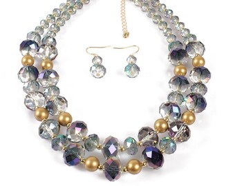 Multicolor Double Strand Faceted Crystal Beaded Jewelry Set