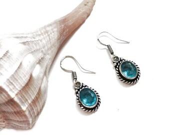 Artisan Aquamarine Quartz Earrings