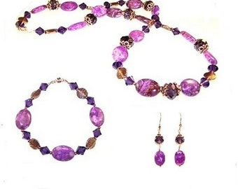 Purple Lace Agate  Beaded Jewelry 3-Piece Set
