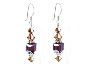 Topaz Swarovski Crystal & 925 Sterling Silver Earrings