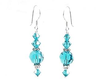 Blue Zircon Sterling Silver and Swarovski Crystal Earrings