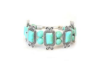 Antique Silver Turquoise Beaded Stretch Bracelet