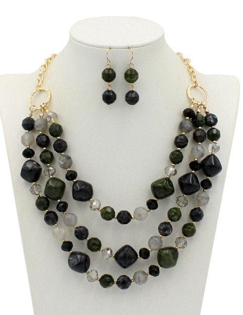Multistrand Black Resin Bead Jewelry Set Jewelry Set Multistrand Necklace Sale