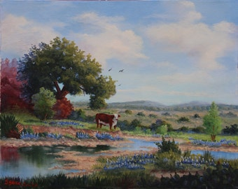 Hereford Cow in Bluebonnet Field Oil Painting, Bluebonnets Oil Painting, Ranch Painting, Field of Bluebonnets, Country Art, Bluebonnets