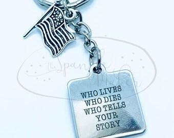 Hamilton Who Tells Your Story  Keychain