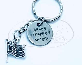 Hamilton Young Scrappy Hungry America Keychain