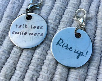 Hamilton Rise Up Talk Less Smile More Zipper Pulls Backpack Charms Necklace Pendants