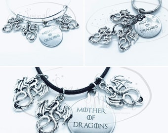 Mother of Dragons Charm Keychain Bangle Necklace