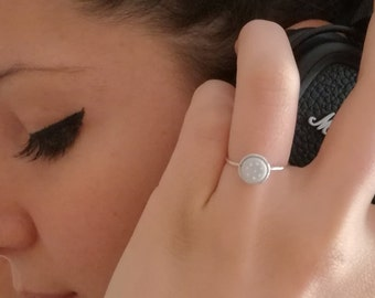 Sterling silver and porcelain contemporary ring