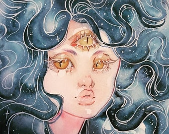 3 Eyed Spirit Girl with galaxy hair - 5x7'in / 13x18cm Print