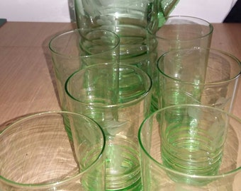 Macbeth Evans Green vaseline glass pitcher and 6 glasses - etched grape pattern