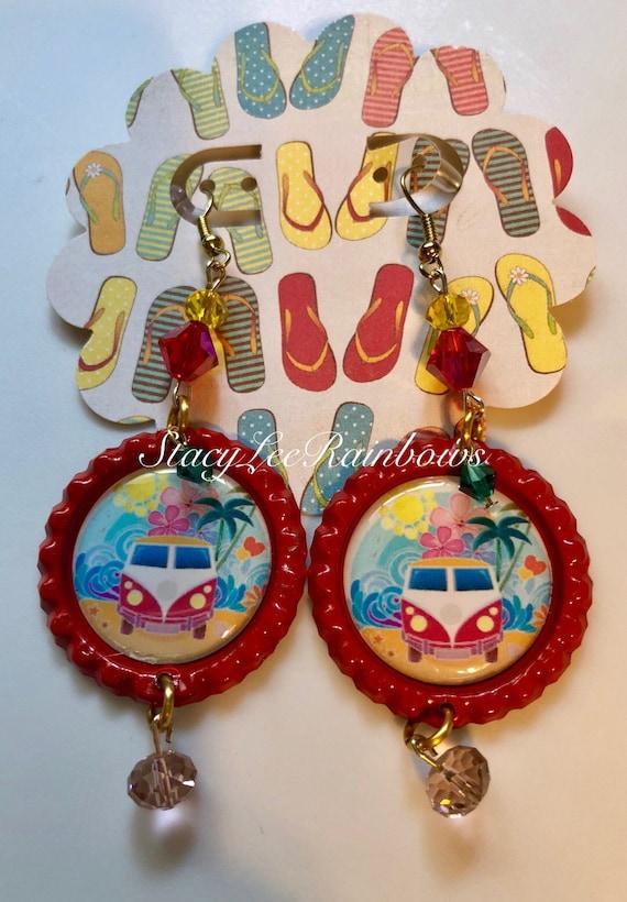Hippie Bus VW Bus Earrings Summer Fun Earrings Womens Earrings Jewelry  Jewellery 5ecc3603d3