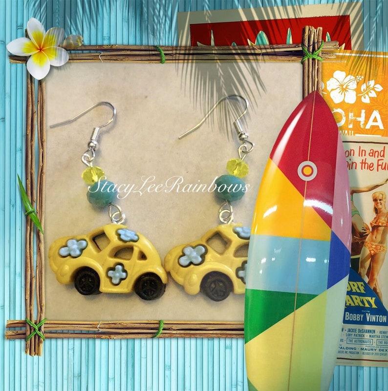 Feelin Groovy Beetle Car NylonPlastic Button Earrings Earings Dangle Earrings Cute Novelty Jewelry