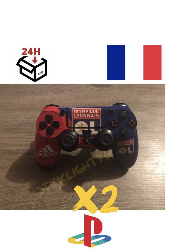 skin stickers manette ol olympique lyonnais ps4 controller led etsy. Black Bedroom Furniture Sets. Home Design Ideas