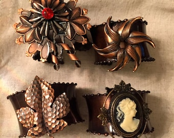 Vintage Bronze Napkin Rings with Cameo