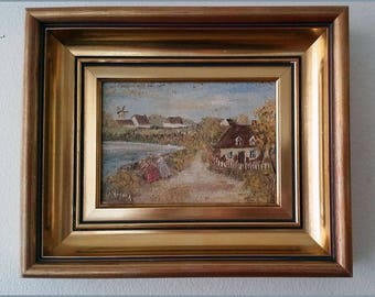 Vintage small landscape oil painting by Scandinavian artist signed Kamma