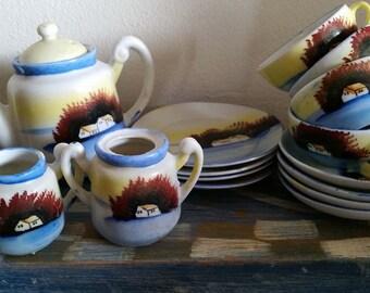 Vintage handpainted house/barn lustreware child's tea set 15 pcs