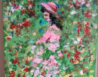 "Impressionist style oil painting on wood ""I Saw Her in a Garden"", 12"" x 7 1/4"" x 1 1/4"", artist signed"