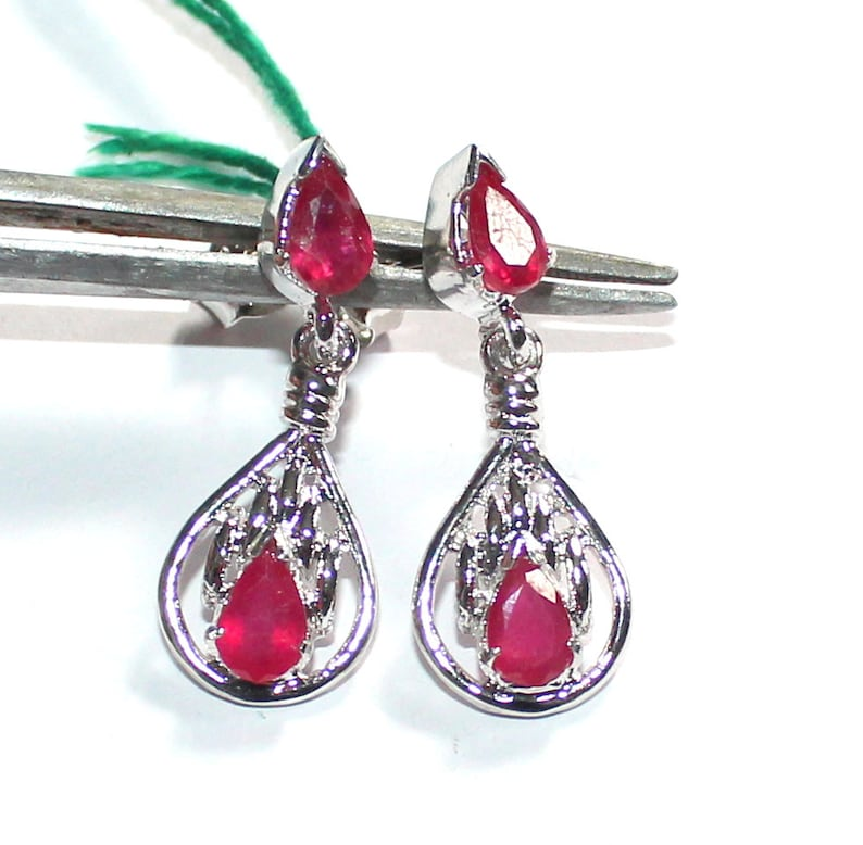 925 Sterling Silver Faceted Cut Ruby Earrings Jewellery A16 Natural Ruby Gemstone Drops Earring