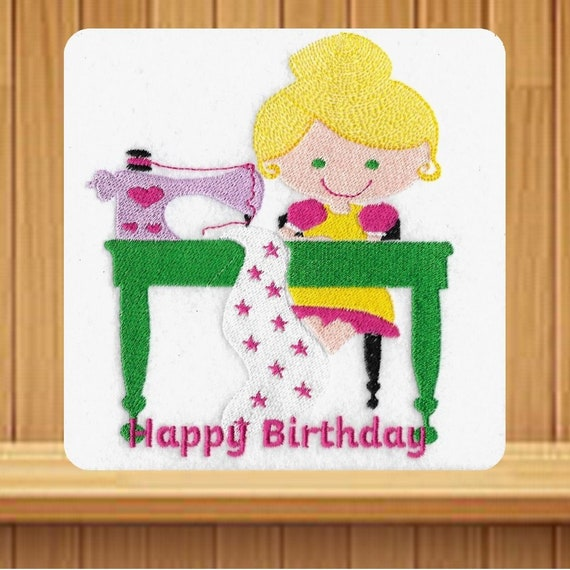 Handmade Happy Birthday Sewing Design Greetings Card With Etsy