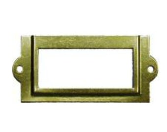Card Holder - Brass Plated Steel Card Holder for Card Catalog or File Cabinet