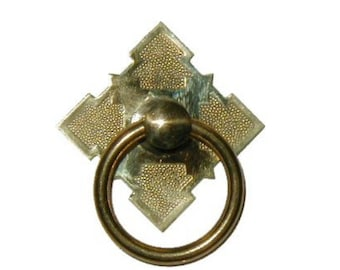 Drawer Pull - Eastlake Victorian Style Brass Single Post Ring Pull