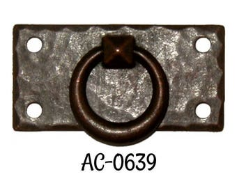 Drawer Pull- Hammered Forged Brass Mission Style DOOR PULL with Antique Copper Finish- Arts and Crafts - Craftsman Style - Stickley