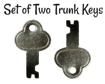 Trunk Keys - Set of Two Nickel Plated Steel Replacement Trunk Keys - Antique Trunk Lock Key