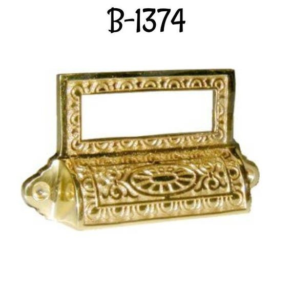 CAST BRASS  BIN  DRAWER PULL CARD HOLDER  B1374