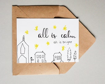 All Is Calm Christmas Village // Downloadable and Printable // Digital // Hand Lettered // Greeting Card // Christmas // Holiday