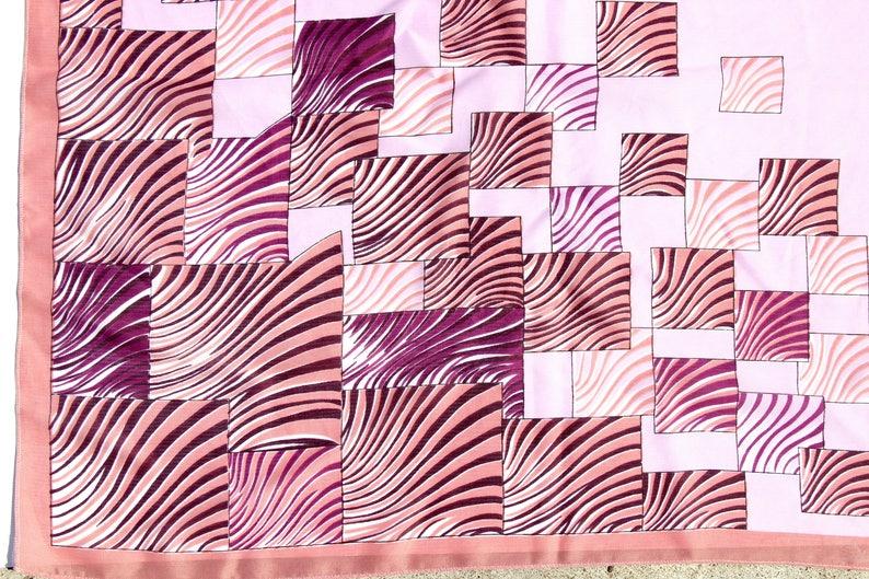 Lilac Scarf With Geometric Ornaments Russian Babushka Spring Shawl Artificial Silk Neckerchief Collectible Soviet Vintage Retro Shawl
