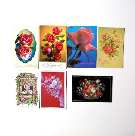 USSR 1987 Soviet Union Vintage Postcard Photo art Pink roses on a postcard