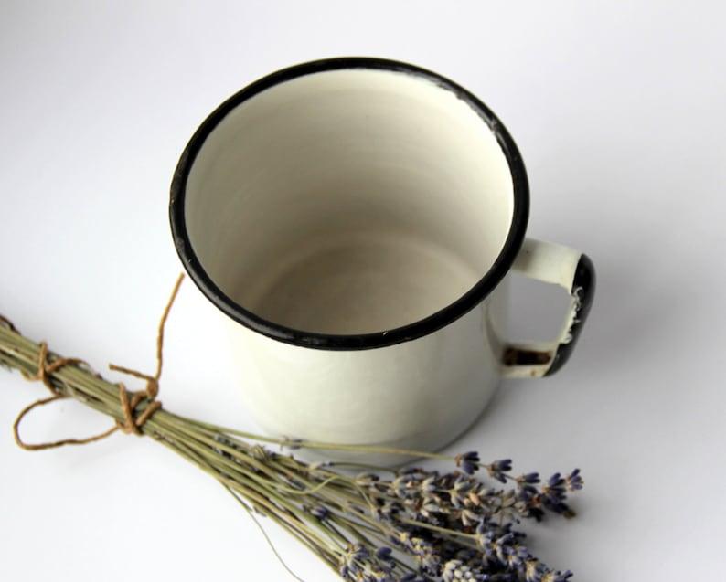 Soviet Vintage White Enamel Mug  Large Authentic Rustic Cup  image 0