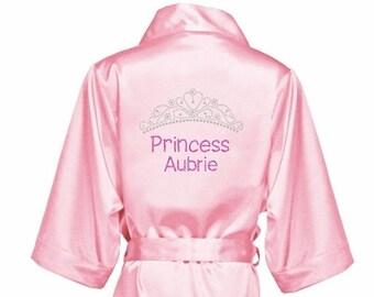 Girls Rhinestone Satin Robe-Girls Satin Robe-Princess Robe c5a76744b