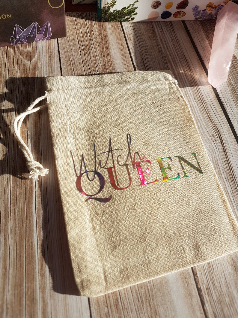 Witchcraft Supply Witchy Tarot Bag Herb Pouch Cotton Drawstring Bag Wytchcraft Eco Friendly Bag Witch Queen Crystal Bag