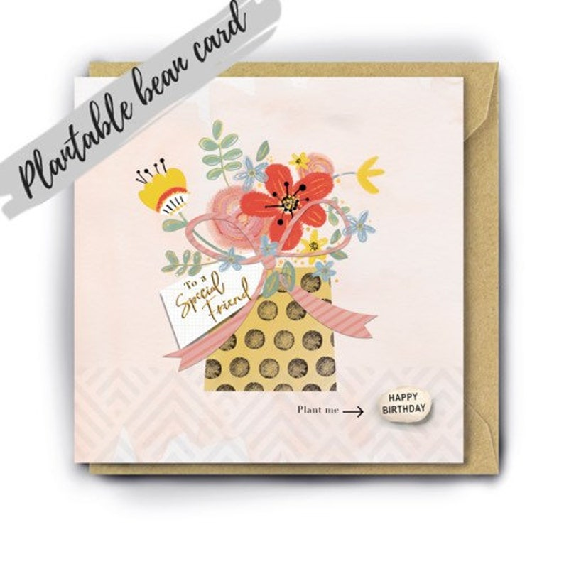 Special friend birthday card, birthday card for a special friend, birthday  card, floral card, unique, friend gift, handmade, gold foil