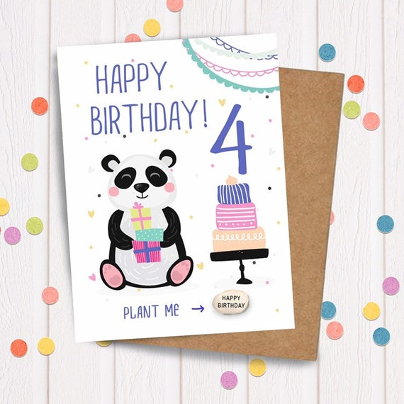 Childrens Birthday Card Age 4 Years Old