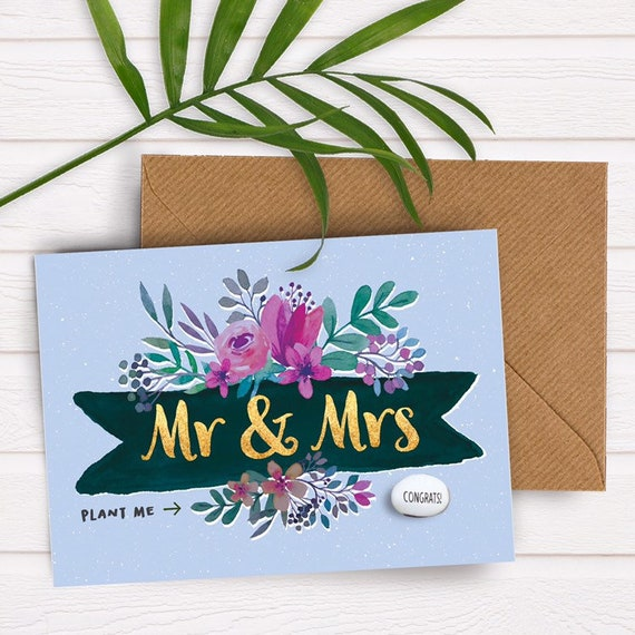 Wedding Card Congratulations On Your Wedding Card Mr And Mrs Etsy