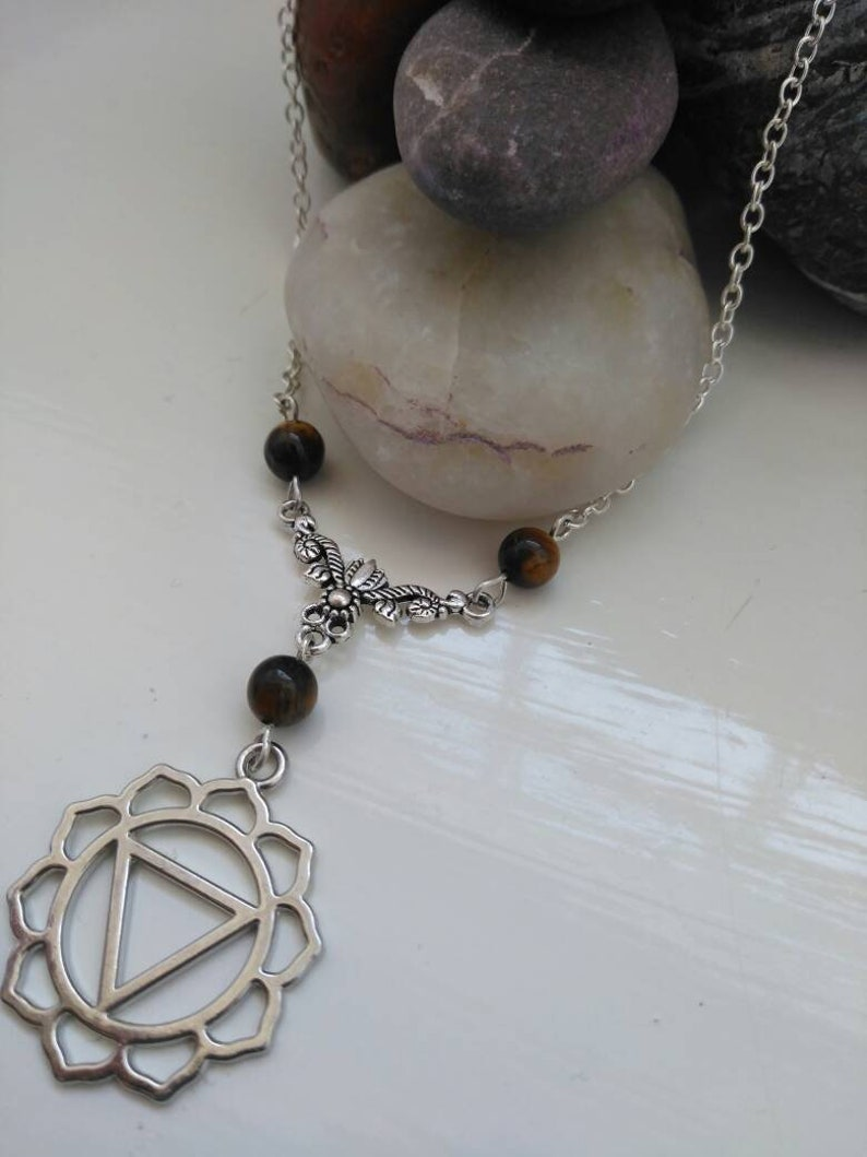 Solar Plexus Chakra Necklace Silver With Tigers Eye Meditation Boho Witch Wicca Pagan Gemstone Crystals