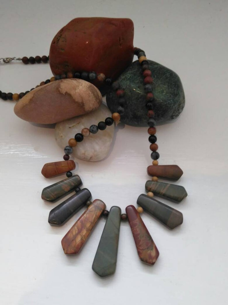Semi precious gemstone bead necklace Picasso Picture Jasper and Agate boho festival hippy pagan