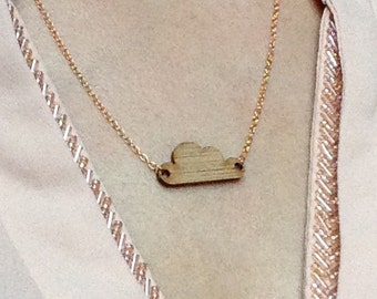 Gold cloud necklace origami bamboo