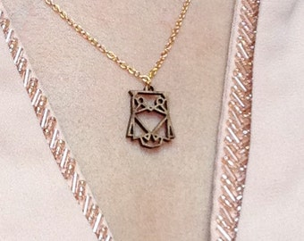 Gold OWL necklace origami bamboo